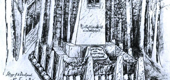 Zeichnung des Denkmals im Delmenhorster Tiergarten.