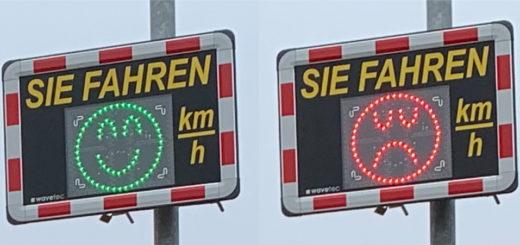 Ein grüner Smiley signalisiert dem Verkehrsteilnehmer, dass er im Rahmen der zulässigen Höchstgeschwindigkeit unterwegs ist, ein rotes Pendant ermahnt ihn, den Fuß vom Gas zu nehmen. Fotos: Bosse