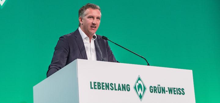 Frank Baumann, Werders Geschäftsführer Fußball, fordert von der Mannschaft Mut und Entschlossenheit. Foto: Nordphoto