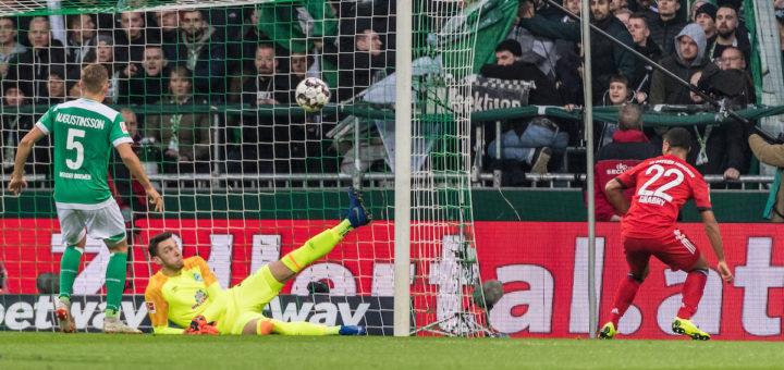 Serge Gnabry erzielt das 1:0 für die Gäste. Foto: Nordphoto