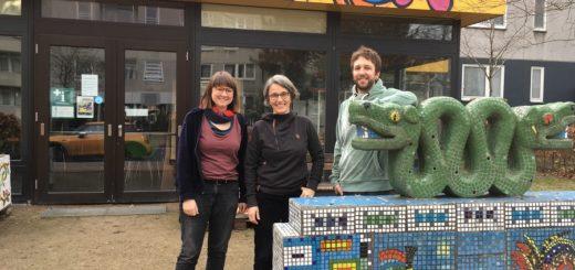 Quartiersmanagerin Erika Bernau hat zwei neue Kollegen bekommen. Gemeinsam mit Pia Weber und Till Kujadt möchte sie den Wollepark in den nächsten Jahren voranbringen. Foto: nba