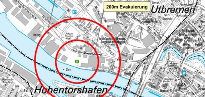In diesem Bereich ist luftschutzmäßiges Verhalten erforderlich. Karte: Polizei Bremen