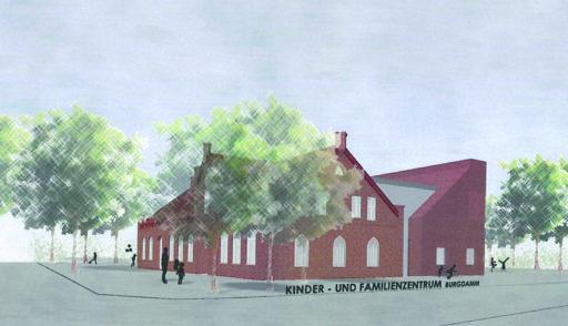 Diese Visualisierung zeigt die Süd-Ost-Ansicht der künftigen Dorfschule: Das bestehende Gebäude erhält einen modernen Anbau. Visualisierung: Gruppe GME
