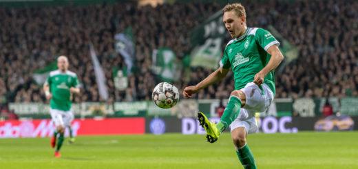 Werder-Trainer Florian Kohfeldt mit Entwicklung von Ludwig Augustinsson unter dem Strich zufrieden. Foto: Nordphoto