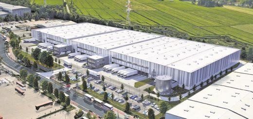 So wird das Zentrum aussehen: Rund 30.000 Quadratmeter umfasst allein die Logistikfläche, hinzu kommen Büros und Sozialräume. Das Unternehmen Goodman hat in Bremen schon Immobilien für Daimler und BLG entwickelt. Visualisierung: Goodman
