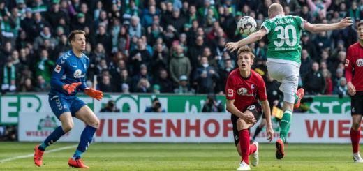 Werders Davy Klaassen (rechts) trifft zum 1:0. Foto: Nordphoto