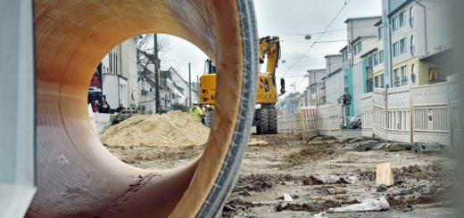 Kanalröhre auf Baustelle