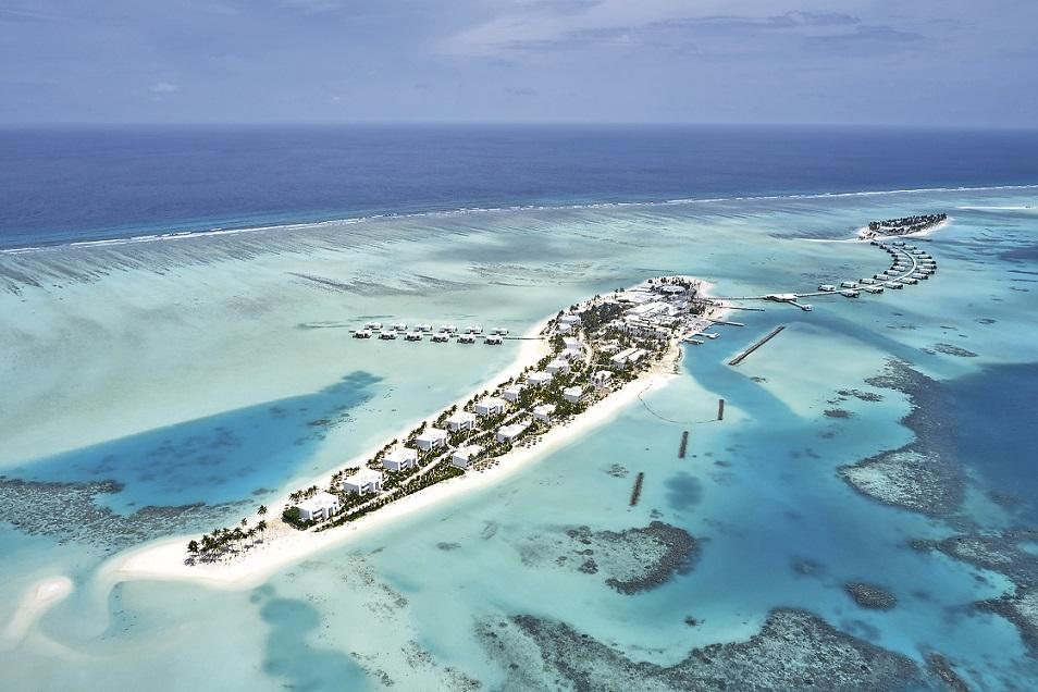 Das Riu Atoll (l.) und das Riu Palace Maldivas aus der Vogelperspektive.Foto: Riu