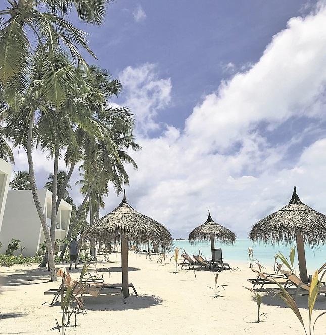 Die Strandhäuser des Riu Palace sind sehr nah am Wasser gebaut.