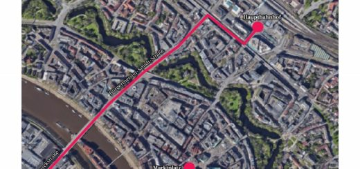 Die Großdemonstration am Freitag führt vom Hauptbahnhof zum Bremer Marktplatz. Karte: Google Maps, Montage: WR