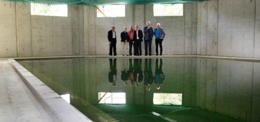 Der Architekt, der Geschäftsführer und einige Aufsichtsratsmitglieder begutachteten am Freitag das neue Kursbecken in der Grafttherme. Foto: Eckert