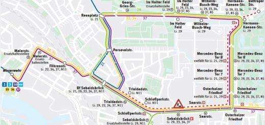Die BSAG hat Umleitungsstrecken für die betroffenen Linien geplant. Grafik: BSAG