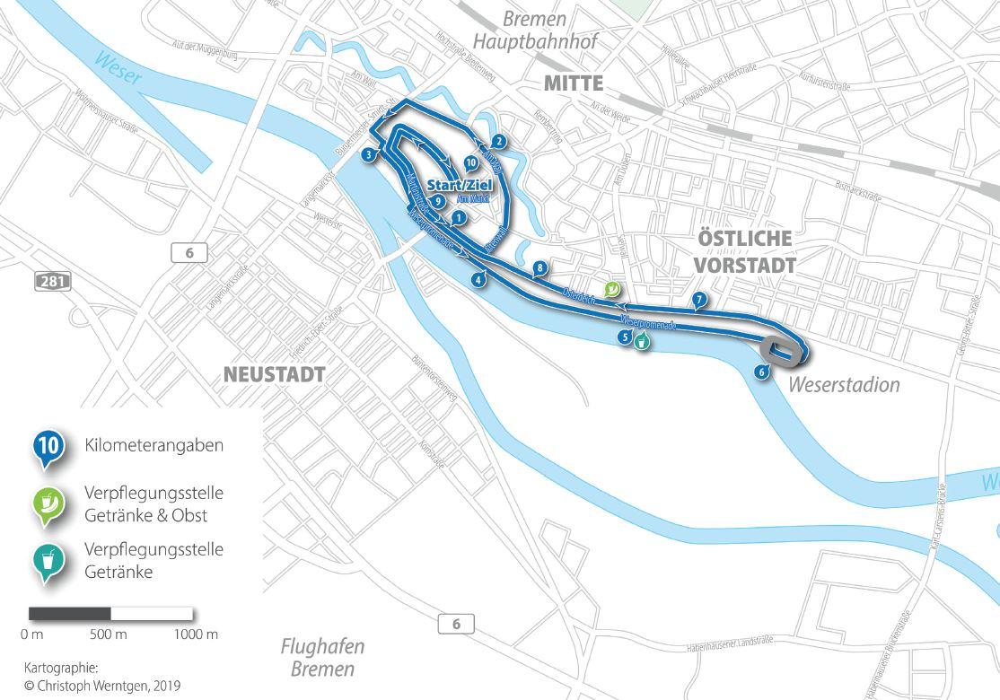 Die Strecke des 10-Kilometerlaufs führt an der Weser entlang. Kartographie: Christoph Werntgen