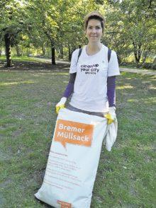 Sechs Bremer Müllsäcke hat das Clean-up-your-City-Team um Katrin Zeise in nur zwei Stunden füllen können.Foto: pv