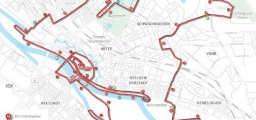 Der 15. SWB-Marathon führt vom Roland durch mehrere Bremer Stadtteile. Kartographie: Christoph Werntgen, 2019