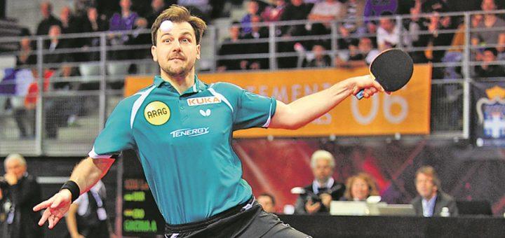 Timo Boll ist wieder einer der Publikumsmagneten des Bremer Turniers und trifft möglicherweise im Achtelfinale auf den Olympiadritten Jun Mizutani. Foto: Manfred Schillings