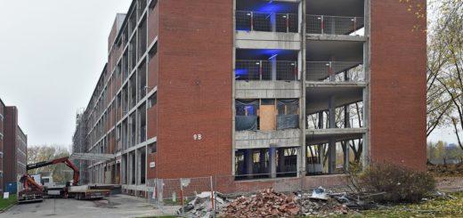"""Momentan werden im Tabakquartier Gewerberäume und Bürolofts gebaut. Künftig sollen in den alten Speichern auch Wohnungen entstehen – """"zu kostengünstigen Mieten"""", sagte Investor Joachim Linnemann. Foto: Schlie"""