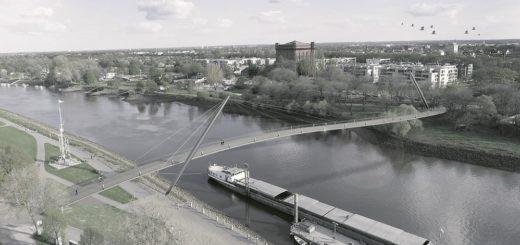 Über eine 249 Meter lange Schrägseilbrücke sollen Fußgänger und Radfahrer die Weser überqueren. Die Brücke führt vom Stadtwerder zum Altenwall. Für die Strecke von der Neustadt zum Stadtwerder ist eine Bogenbrücke geplant. Quelle: Verkehrsbehörde