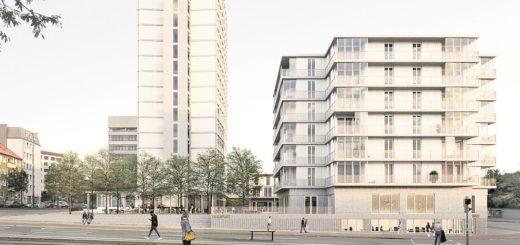 Ein öffentlicher Platz und ein üppiger Neubau sollen zukünftig das Areal um das ehemalige Bundeswehrhochhaus zur Falkenstraße hin schmücken. Visualisierung: EM2N