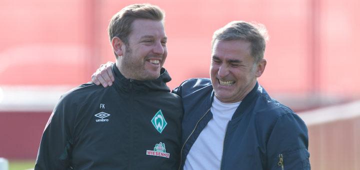 Momentan auf Tour für die deutsche U21-Auswahl: Nationaltrainer Stefan Kuntz (rechts) traf sich auf Mallorca auch mit Werder Coach Florian Kohfeldt. Foto: Nordphoto