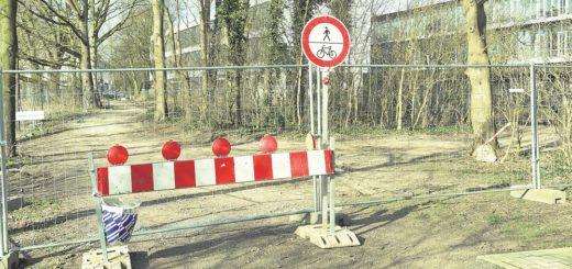 Die Sperrung des Geh- und Radweges entlang der kleinen Weser soll dieser Tage aufgehoben werden.