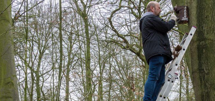 """Akteure des NABU und des """"Runden Tisch Tiergarten"""" haben am Wochenende die zahlreichen Vogelnistkästen im Tiergarten gereinigt und dokumentiert, wer in den Bauten """"gewohnt"""" hat. Foto: Schewe-Kinder"""