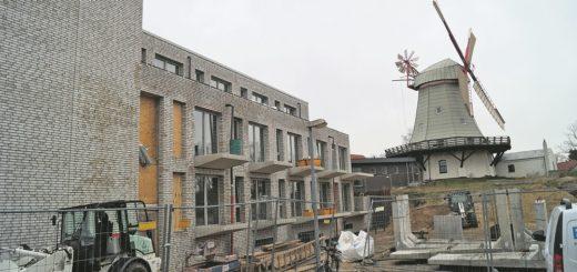 Das neue Gebäude ist in den Hang gebaut und teilweise im Boden versenkt, so dass selbst die oberste Etage deutlich unterhalb des Niveaus der historischen Mühle endet. Foto: Lenssen