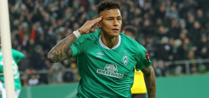 Rückkehrer Davie Selke jubelt über sein 1:0 im DFB-Pokal gegen Borussia Dortmund
