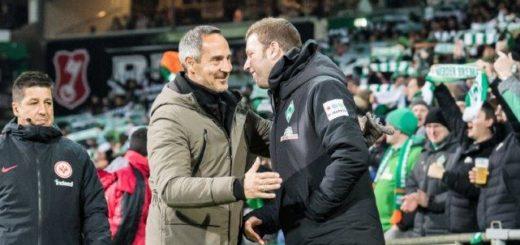 Kontrahenten im DFB-Pokal-Viertelfinale: Frankfurts Trainer Adi Hütter erwartet seien Bremer Kollegen Florian Kohfeldt (rechts). Foto: Nordphoto