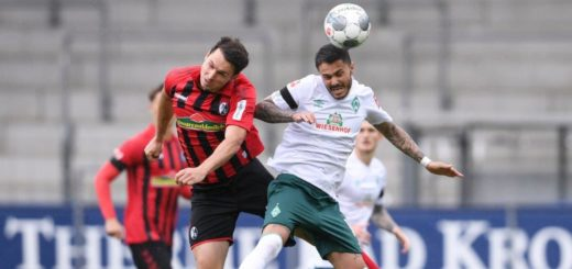 Traf den Ball beim 1:0 perfekt und lässt Werder wieder Hoffen im Abstiegskampf: Leonardo Bittencourt (rechts) Foto: Nordphoto