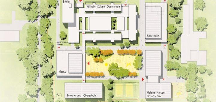 Ein Vorschlag des bekannten Hamburger Architekturbüros GMP zeigt, wie der Kaisen-Campus nach Fertigstellung der Gebäude aussehen könnte. Plan: Immobilien Bremen/gmp