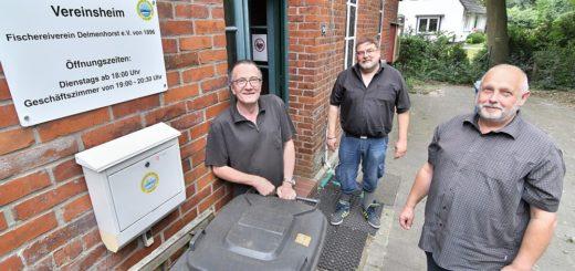 Detlef Roß, Gerold Porth und Werner Husak (v.l.) vom Fischereiverein Delmenhorst sagen Umweltsündern den Kampf an. Foto: Konczak