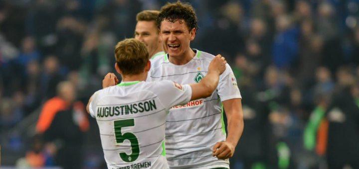 Milos Veljkovic und Ludwig Augustinsson könnten bei einem Verkauf jeweils mehr als 5 Millionen Euro in die klamme Kasse spülen. Foto: Nordphoto