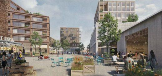 Im neuen Kornquartier sollen Wohnen und Arbeiten vereint werden. Visualisierung: Hilmes Lamprecht Architekten Bremen