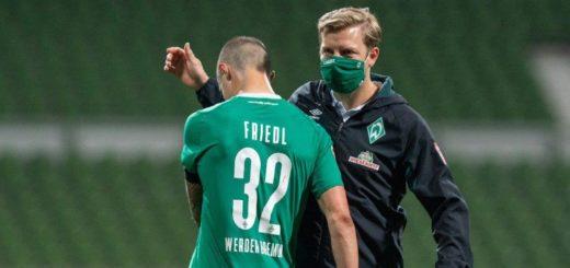 Zuletzt mit einem polternden Rückfall in alte Zeiten: Marco Friedl und Trainer Florian Kohfeldt. Foto: Nordphoto