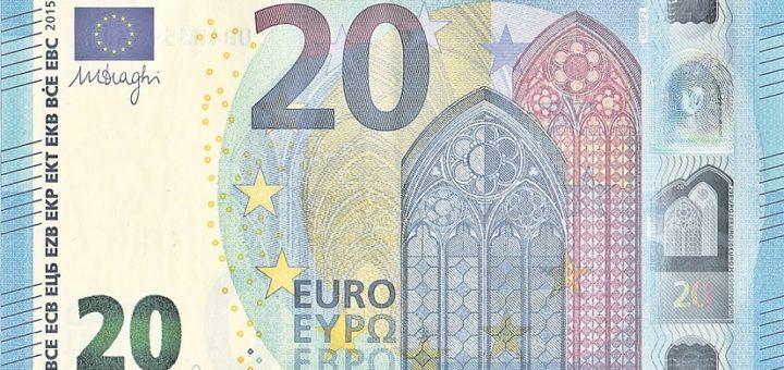 Die Europäische Zentralbank macht die 20-Euro-Banknote haltbarer. Der Schein bekommt eine Speziallackierung und kommt im Laufe des Jahres peu à peu im ganzen Euroraum in den Umlauf.Foto: GREGOR auf Pixabay