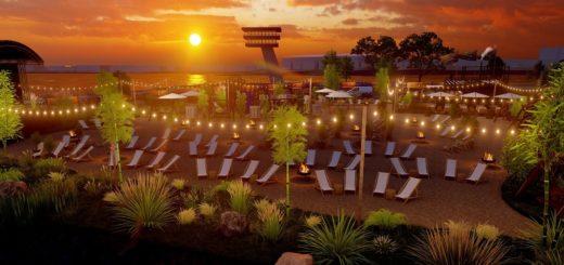 Am Lankenauer Höft soll von Mai bis Oktober 2021 ein Beachclub locken. Visualisierung: BCS-Gruppe
