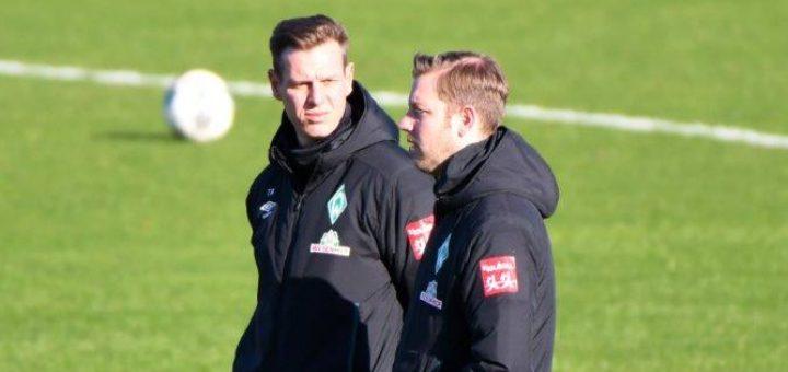 Hat in der Bundesliga mehr als 100 Spiele als Werder-Trainer bestritten: Florian Kohfeldt (rechts) mit seinem Co-Trainer Tim Borowski. Foto: Nordphoto)