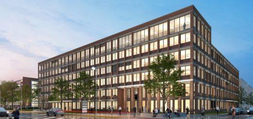 Das Forum an der Senator-Apelt-Straße bietet nach seiner Fertigstellung rund 9.000 Quadratmeter vermietbare Bürofläche.Visualisierung: Justus Grosse Immobilienunternehmen