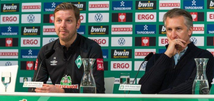 Stecken mit Werder in einer dramatischen sportlichen Situation: Trainer Florian Kohfeldt (links) und Sportchef Frank Baumann. Foto: Nordphoto