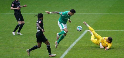 Davie Selke scheitert aus kurzer Distanz gegen den Gladbacher Keeper Yann Sommer. Foto: Nordphoto