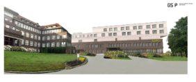 Das neue Krankenhaus soll die Sicht von der Wildeshauser Straße auf den denkmalgeschützten HögerDas Krankenhaus wird in den Hang hineingebaut. Grafik: Gerlach Schneider Partner Architekten