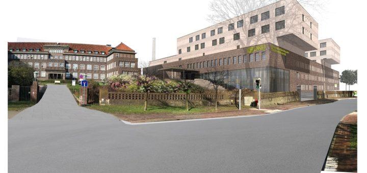 Das neue Krankenhaus soll die Sicht von der Wildeshauser Straße auf den denkmalgeschützten Högerbau möglichst wenig beeinträchtigen Grafik: Gerlach Schneider Partner Architekten