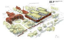 Das neue Delme Klinikum Delmenhorst aus der Vogelperspektive. Grafik: Gerlach Schneider Partner Architekten